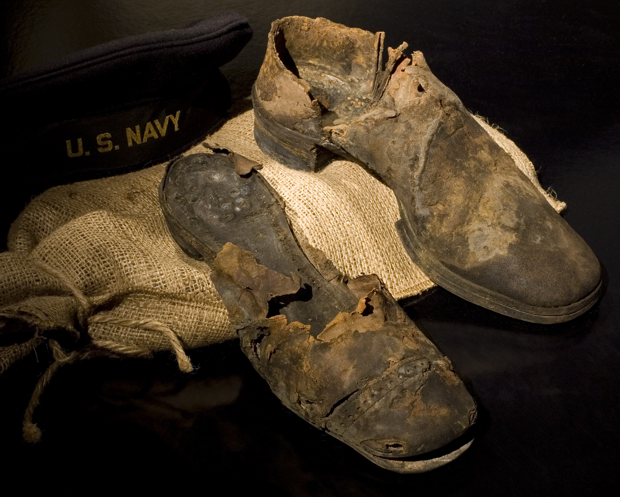 Two leather shoes found in the Monitor's turret, recovered in 2002