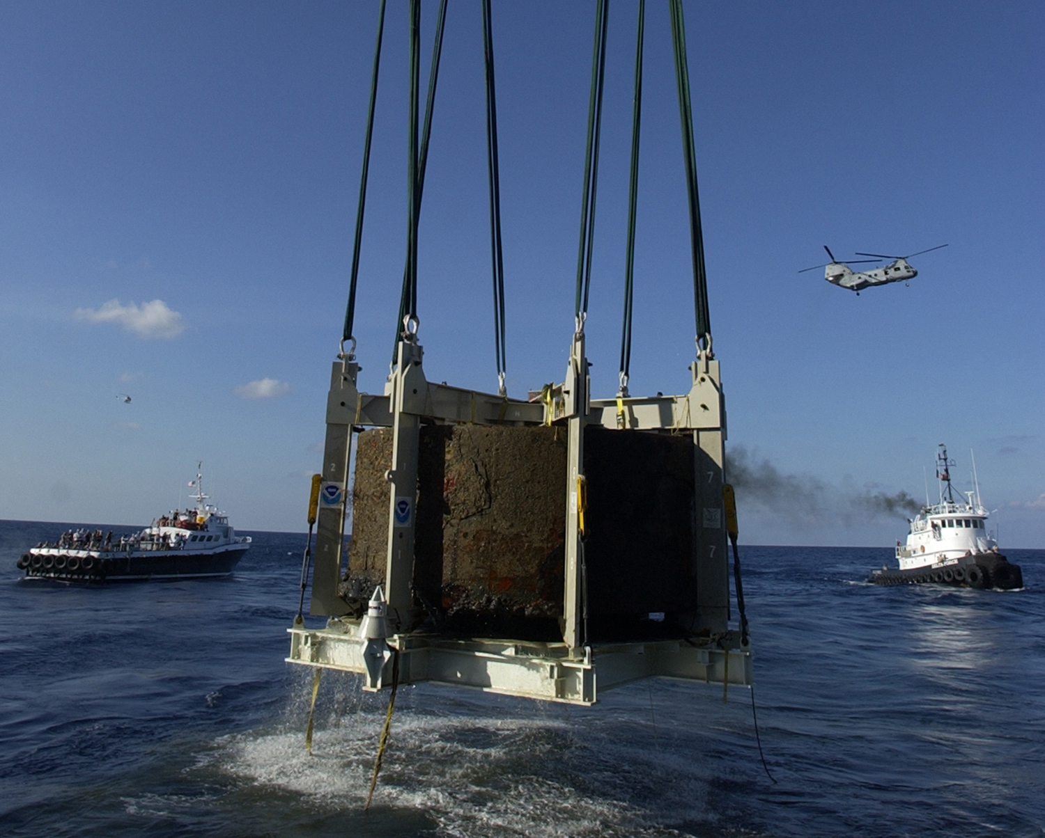 The Monitor's turret recovered on August 5, 2002, courtesy of NOAA