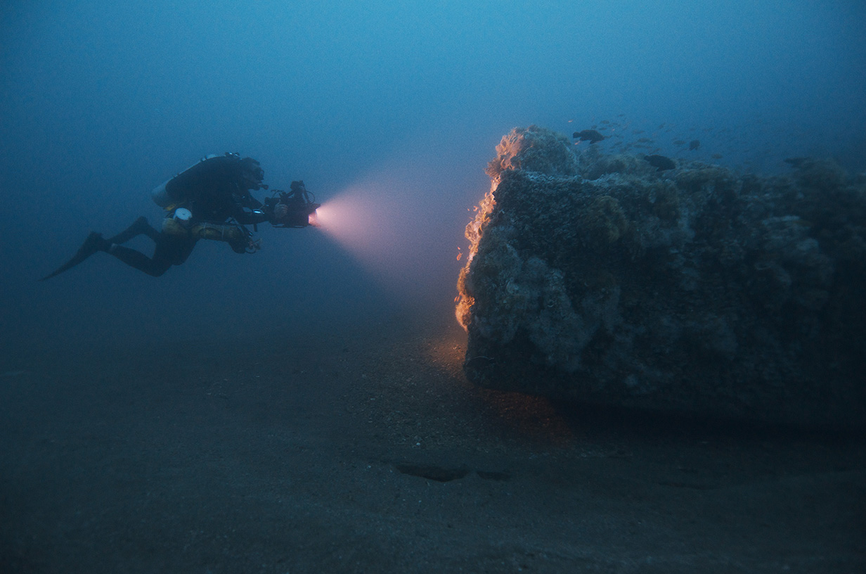 Diver on the USS Monitor's wreck site, courtesy of NOAA